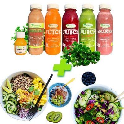 Juicekur Body Fit til 8 + 4 dage med kostplan indeholder smoothies, juices og ingefærshots